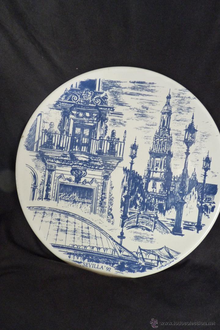 Vintage: PRECIOSO PLATO DE CERÁMICA, GIRALDA DE SEVILLA, RECUERDO EXPO 92 - Foto 10 - 42573960