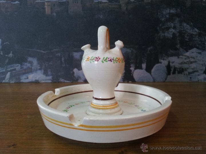 ORIGINAL CENICERO PIPO DE CERÁMICA PINTADO A MANO (Vintage - Decoración - Porcelanas y Cerámicas)