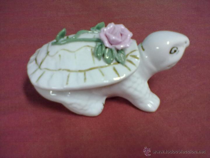TORTUGA CAJA JOYERO PORCELANA (Vintage - Decoración - Porcelanas y Cerámicas)