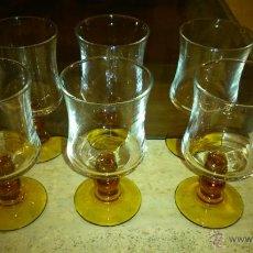 Vintage: 6 COPAS DE VINO TIPO LUMINARC WINE GLASSES COLOR AMBAR AÑOS 60'S. Lote 43401733