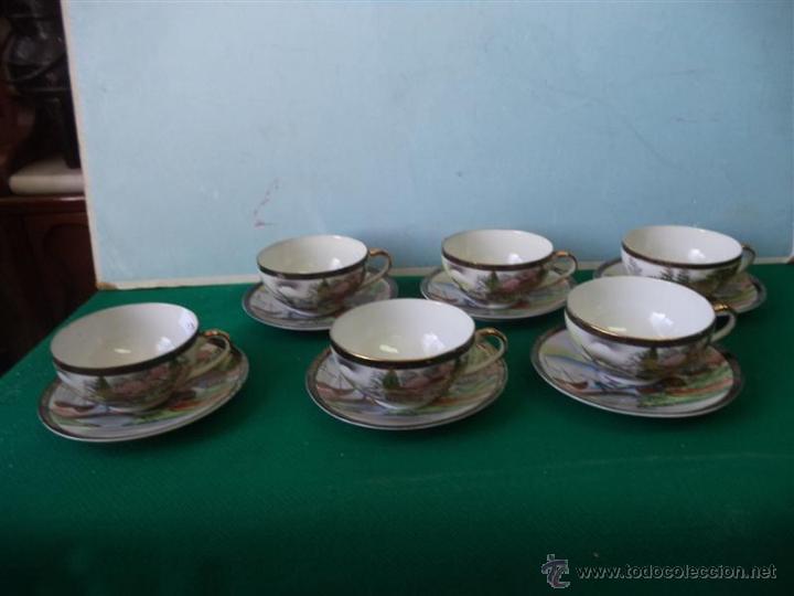 6 TAZAS Y 6 PLATOS PORCELANA ORIENTAL (Vintage - Decoración - Porcelanas y Cerámicas)