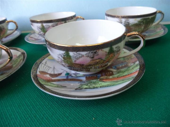 Vintage: 6 tazas y 6 platos porcelana oriental - Foto 2 - 43865130