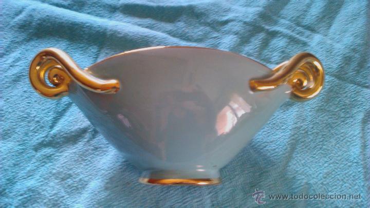Vintage: Antigua copa de cerámica para caramelos o bombones de color verde y oro.DOMY - Foto 5 - 43867499