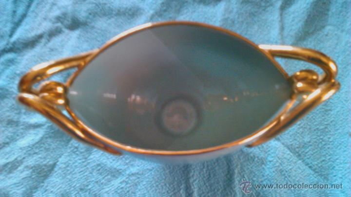 Vintage: Antigua copa de cerámica para caramelos o bombones de color verde y oro.DOMY - Foto 6 - 43867499