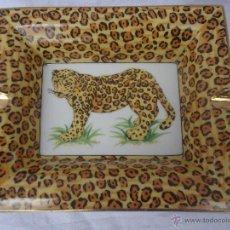 Vintage: SOFISTICADO CENICERO CON DECORACION DE LEOPARDO AÑOS 80 PORCELANA. Lote 43946510