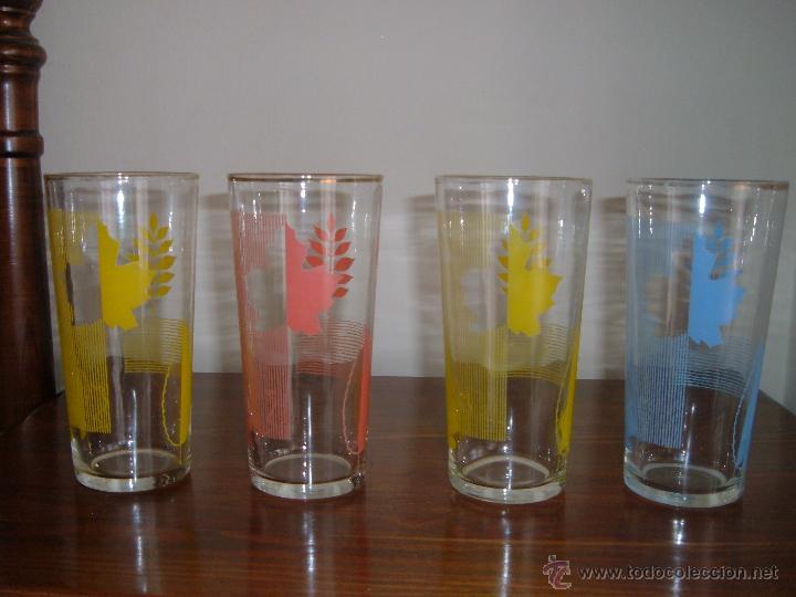 4 VASOS SERIGRAFIADOS (Vintage - Decoración - Cristal y Vidrio)