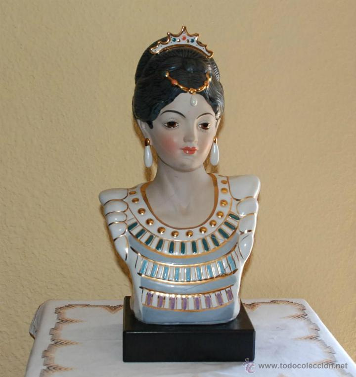 BUSTO VALENCIANA PORCELANA PINTADA A MANO GRAN TAMAÑO - PARA RESTAURAR (Vintage - Decoración - Porcelanas y Cerámicas)