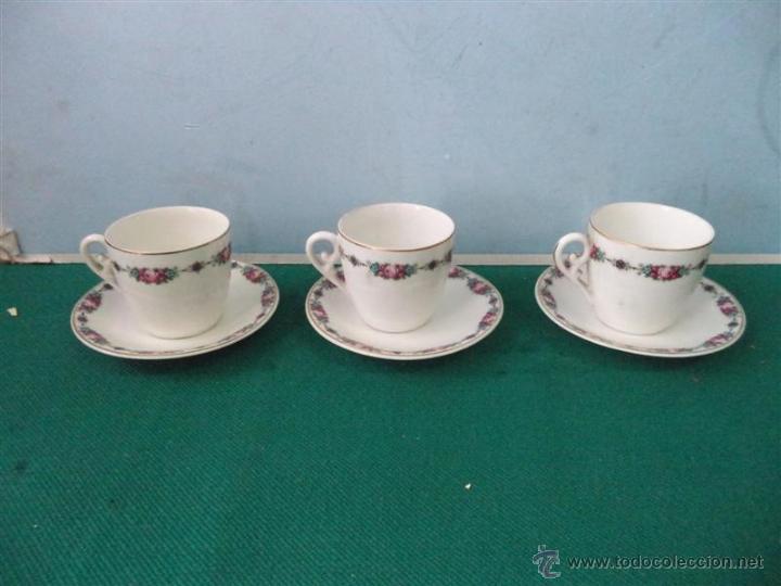 3 TAZAS Y PLATOS VISTAALEGRE (Vintage - Decoración - Porcelanas y Cerámicas)