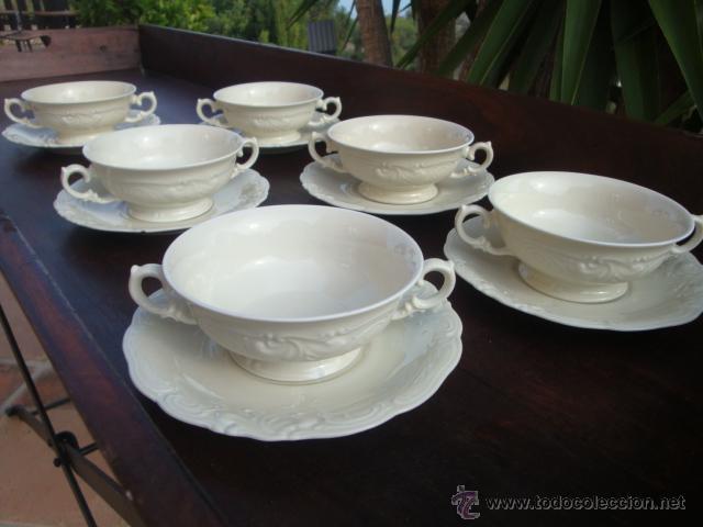 JUEGO DE 6 BOLES DE CONSOMÉ (Vintage - Decoración - Porcelanas y Cerámicas)