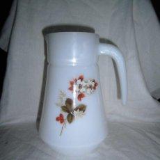 Vintage: JARRA EN CRISTAL OPALINA CON FLORES AÑOS 70. Lote 44270439