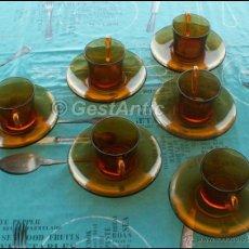 Vintage: LOTE DE 6 TAZAS Y PLATOS DE CAFE COLOR AMBAR - DURALEX-SPAIN AÑOS 60/70. Lote 44332804