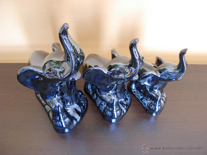 Vintage: Conjunto de tres elefantes de la suerte en porcelana de reflejos - Foto 10 - 44394298