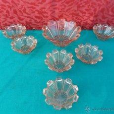 Vintage: CUENCOS DE CRISTAL ROSA. Lote 44727250