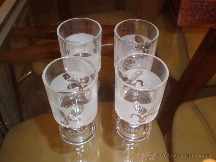 LOTE DE 4 COPAS LICOR CON DIBUJO ESPIGA RETRO O VINTAGE (Vintage - Decoración - Cristal y Vidrio)