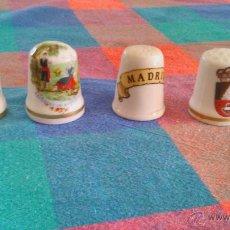 Vintage: COLECCIÓN DE 4 DEDALES DE PORCELANA. PARA VITRINA.. Lote 44846073