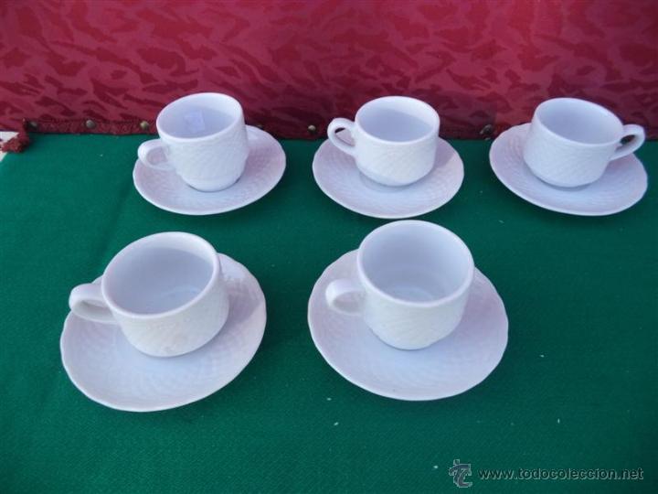 5 TAZAS Y PLATOS PORCELANA VISTAALEGRE (Vintage - Decoración - Porcelanas y Cerámicas)