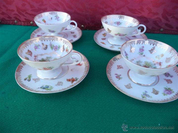 4 TAZAS Y PLATOS PORCELANA (Vintage - Decoración - Porcelanas y Cerámicas)