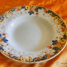 Vintage - Antiguo plato sopero pintado a mano Gilman & cia SACAVEM . Años 60 - 45103046