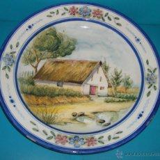 Vintage: PLATO LOZA POPULAR VALENCIANA SELLO IMPRESO EN LA BASE. Lote 45299496