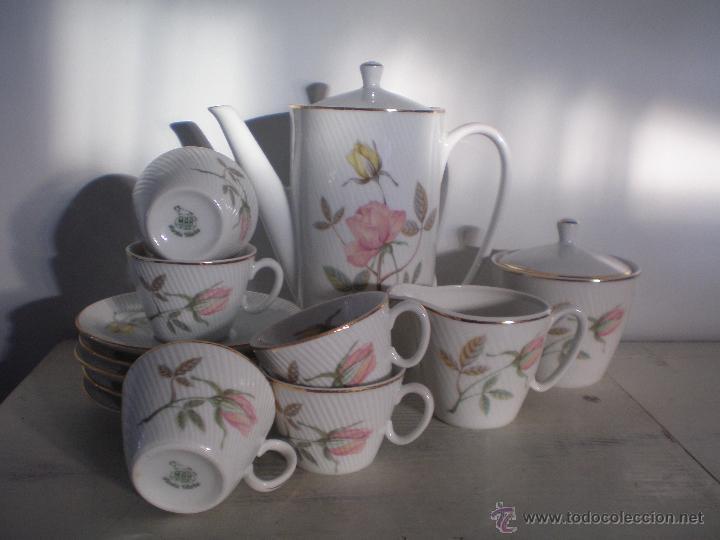 JUEGO DE CAFÉ PORCELANA VINTAGE ANTIGUO SANTA CLARA AÑOS 60 - 70 (Vintage - Decoración - Porcelanas y Cerámicas)