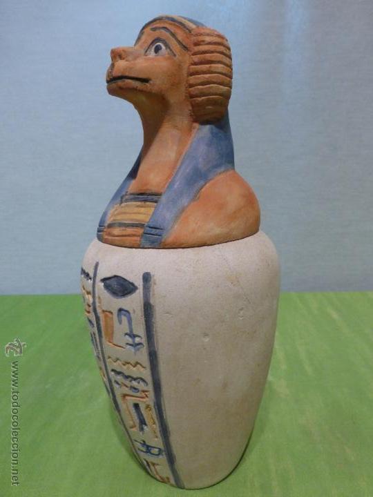 IMPORTANTE VASO CANOPO EGIPCIO DE ENTERRAMIENTO - FIEL REPLICA ARTESANAL EN ALTA CALIDAD DE HAPY - (Vintage - Decoración - Porcelanas y Cerámicas)