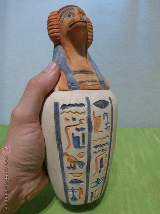 Vintage: IMPORTANTE Vaso canopo EGIPCIO DE ENTERRAMIENTO - FIEL REPLICA ARTESANAL EN ALTA CALIDAD DE Hapy - - Foto 10 - 45430201