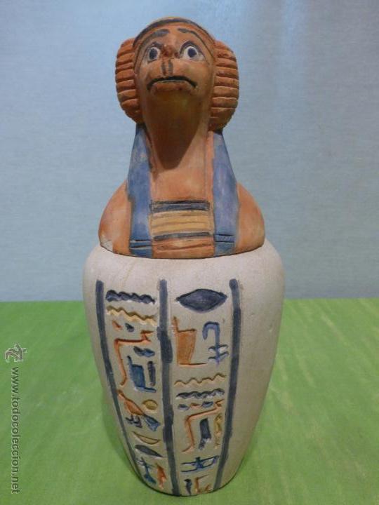 Vintage: IMPORTANTE Vaso canopo EGIPCIO DE ENTERRAMIENTO - FIEL REPLICA ARTESANAL EN ALTA CALIDAD DE Hapy - - Foto 12 - 45430201