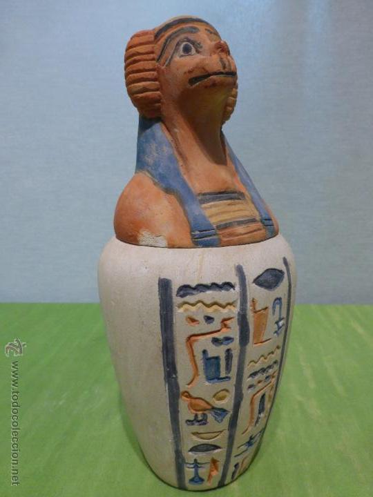 Vintage: IMPORTANTE Vaso canopo EGIPCIO DE ENTERRAMIENTO - FIEL REPLICA ARTESANAL EN ALTA CALIDAD DE Hapy - - Foto 13 - 45430201