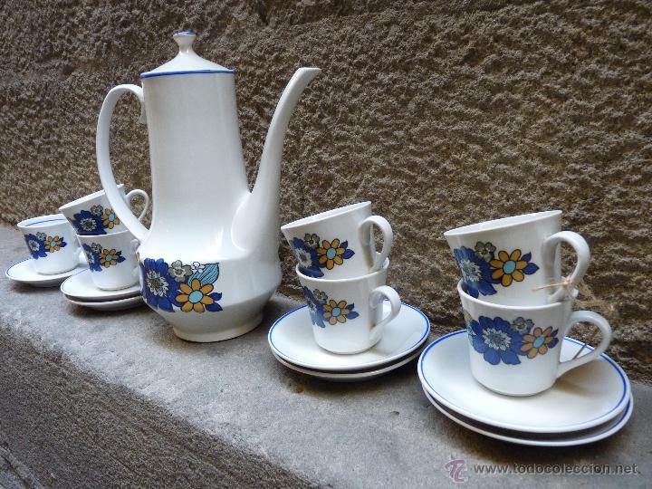 PRECIOSO JUEGO DE CAFE DE PORCELANA, AÑOS 60 (Vintage - Decoración - Porcelanas y Cerámicas)