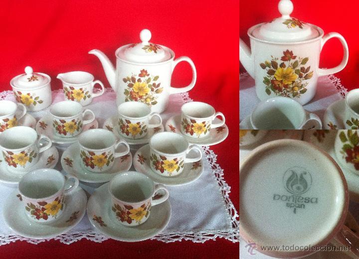 PORCELANA PONTESA JUEGO DE CAFE 21 PZAS (Vintage - Decoración - Porcelanas y Cerámicas)