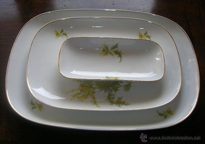 TRES FUENTES DE PORCELANA BIDASOA Nº 16 AÑOS 50 (Vintage - Decoración - Porcelanas y Cerámicas)