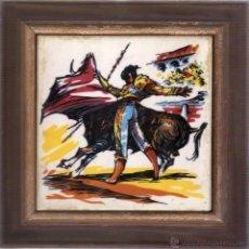 Vintage: AZULEJO ENMARCADO ESCENA TAURINA DE LOS AÑOS 80. Lote 46663860