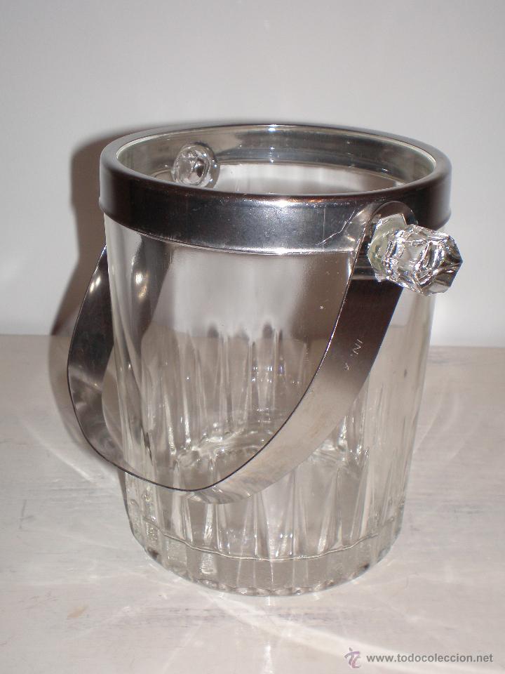 CUBITERA HIELERA CRISTAL TRANSPARENTE E INOX VINTAGE (Vintage - Decoración - Cristal y Vidrio)