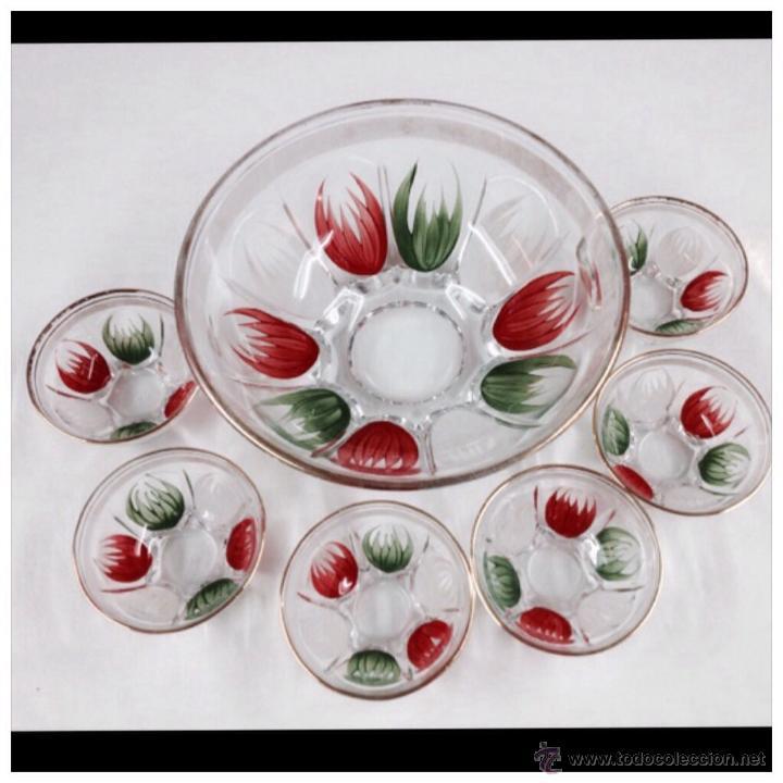 CUENCOS CRISTAL PINTADOS VINTAGE (Vintage - Decoración - Cristal y Vidrio)