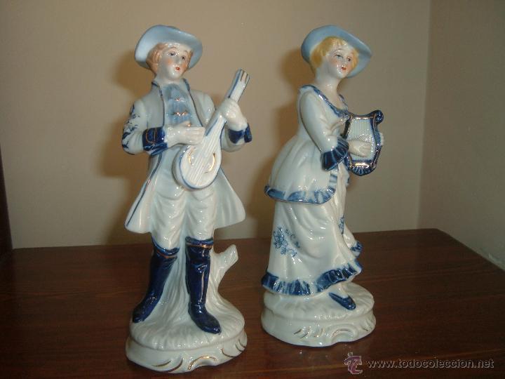 PAREJA DE FIGURAS (Vintage - Decoración - Porcelanas y Cerámicas)