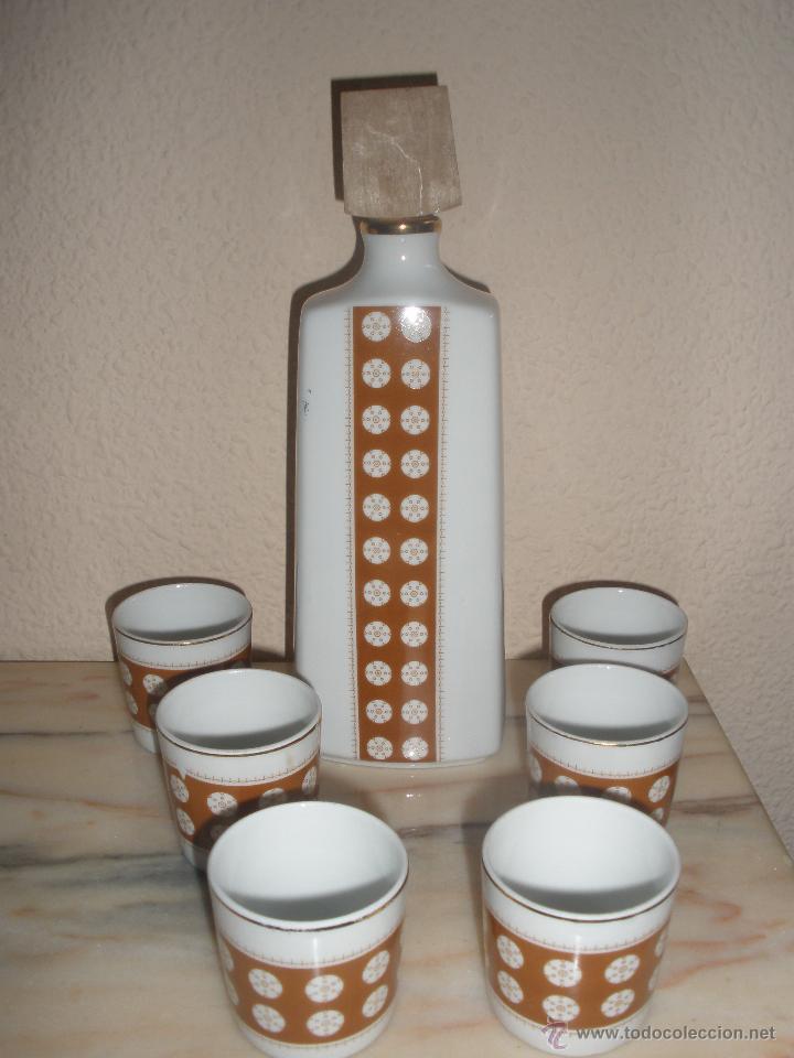 VINTAGE JUEGO LICOR DE PORCELANA SANBO DE VALENCIA AÑOS 60-70 (Vintage - Decoración - Porcelanas y Cerámicas)