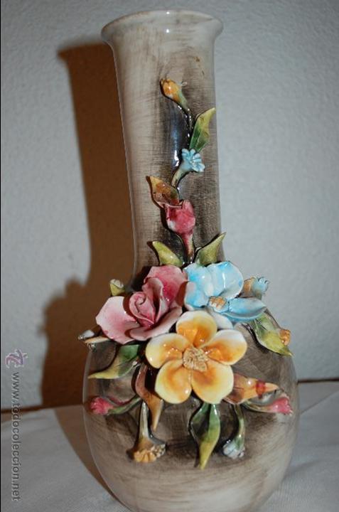 magnifico jarron decorado con ramo superpuesto todo fabricado manual italia vintage decoracin