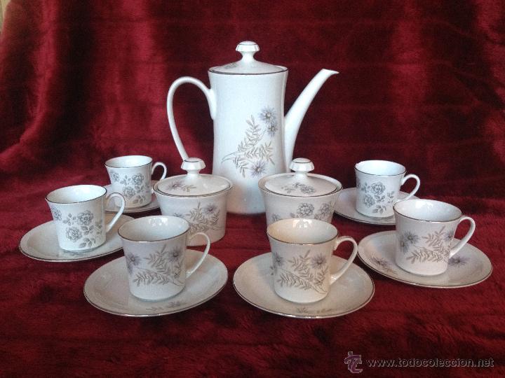 JUEGO DE CAFÉ AÑOS 60 PORCELANA PONTESA (Vintage - Decoración - Porcelanas y Cerámicas)