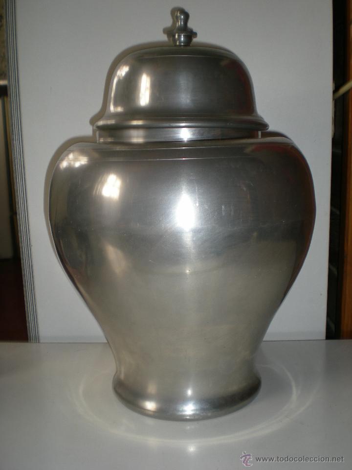 precioso jarrn grande con tapa de estao sellado gaia y con punzonada peso mas