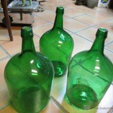 Vintage: 3 DAMAJUANAS COLOR VERDE DE 5 LITROS CIRCA APROX 1960 - LIMPIAS + INFO. Lote 182731153
