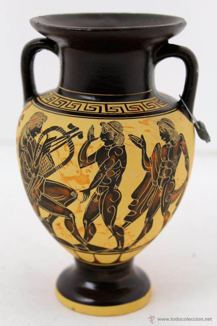Jarron griego en ceramica pintada a mano copia comprar for Jarrones de decoracion modernos