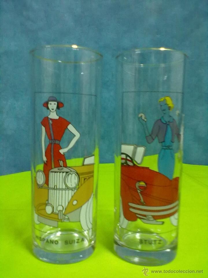 DOS VASOS TUBO COCHES HISPANO SUIZA STUTZ (Vintage - Decoración - Cristal y Vidrio)