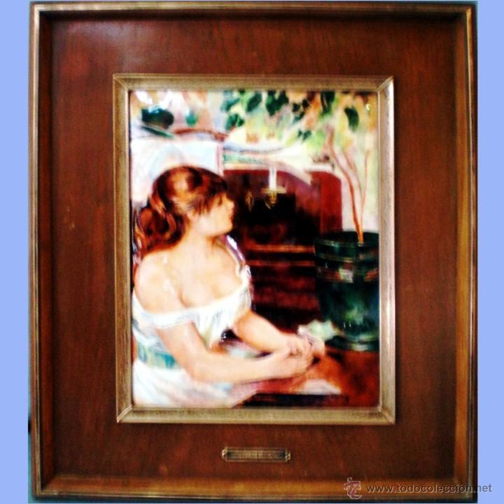 CUADRO DE ESMALTE VIDRIADO AL FUEGO SOBRE METAL SOBRE OBRA DE P.A. RENOIR DE 22,5 X 31 CM. ENMARCADO (Vintage - Decoración - Porcelanas y Cerámicas)