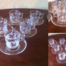 Vintage: JUEGO DE CAFE EN VIDRIO TEMPLADO 6 SERVICIOS. Lote 48391711