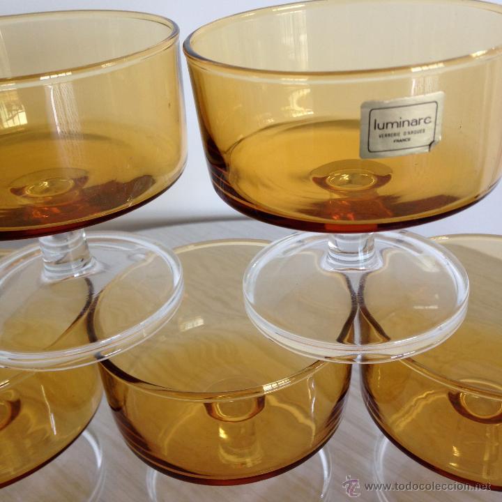 5 COPAS CRISTAL VINTAGE LUMINARC COLOR MIEL (Vintage - Decoración - Cristal y Vidrio)