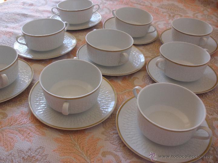 ANTIGUO JUEGO DE CONSOME PORCELANA L´ESTEL ESPAÑOLA AÑOS 60-70S BUENA CALIDAD (Vintage - Decoración - Porcelanas y Cerámicas)