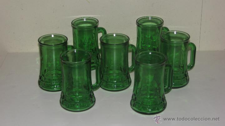 lote de siete jarras en vidrio verde vintage decoracin cristal y vdrio