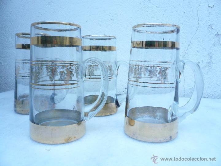 CINCO JARRAS DE CERVEZA DE CRISTAL (Vintage - Decoración - Cristal y Vidrio)