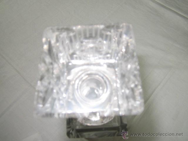 Vintage: Botella licorera de cristal tallado, con boca de plata. 30 cms. altura. - Foto 7 - 48935788