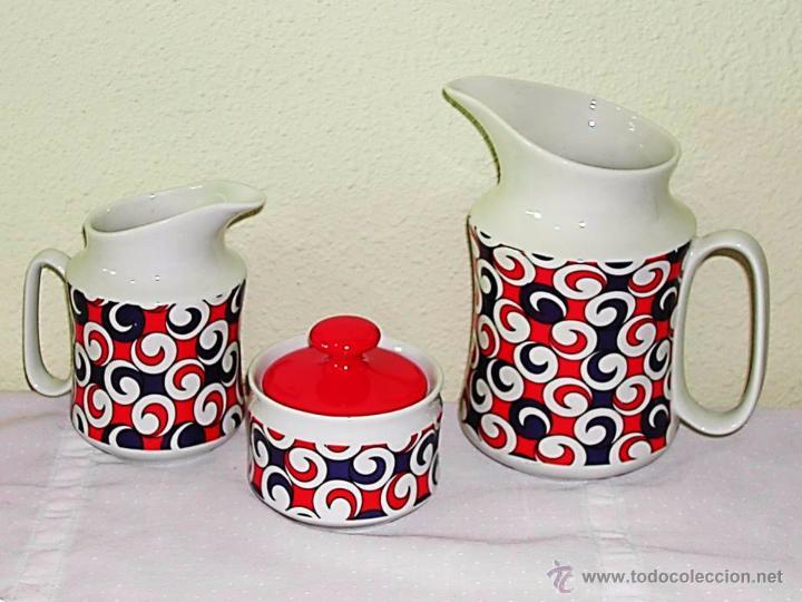 VINTAGE - JUEGO CAFETERA + LECHERA + AZUCARERO - HISPANOGAR CAPEANS - MADE IN SPAIN - AÑOS 60 / 70 (Vintage - Decoración - Porcelanas y Cerámicas)